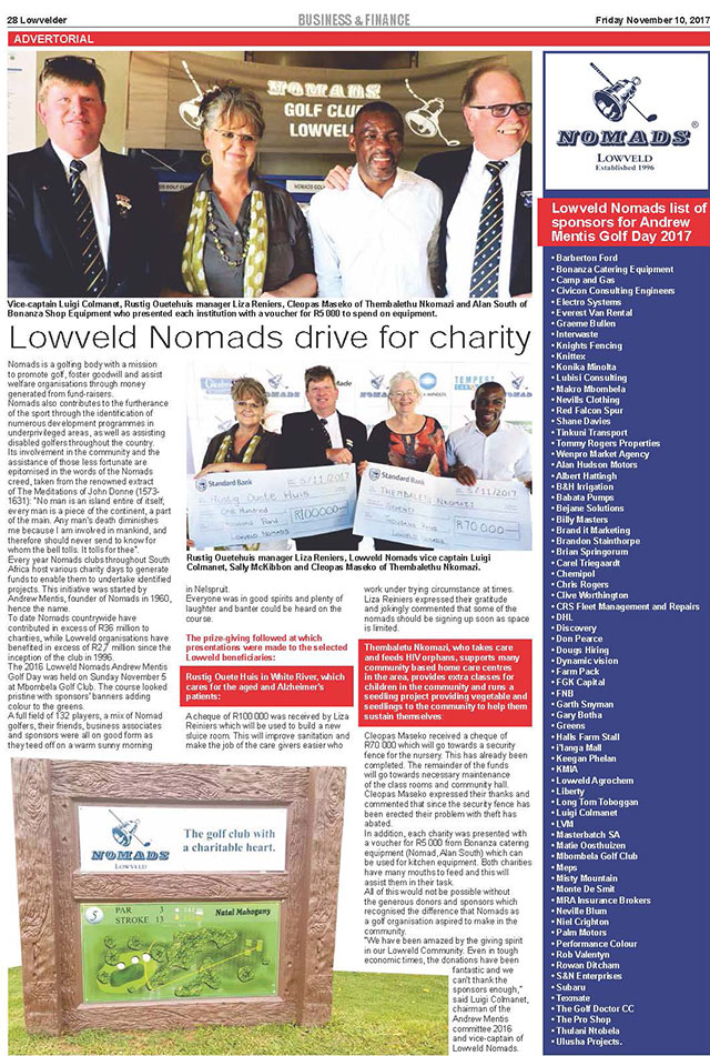 nomads drive for charity